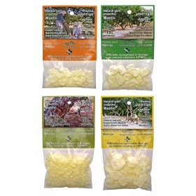 Natural mastic in blister small packs. ANEMOS
